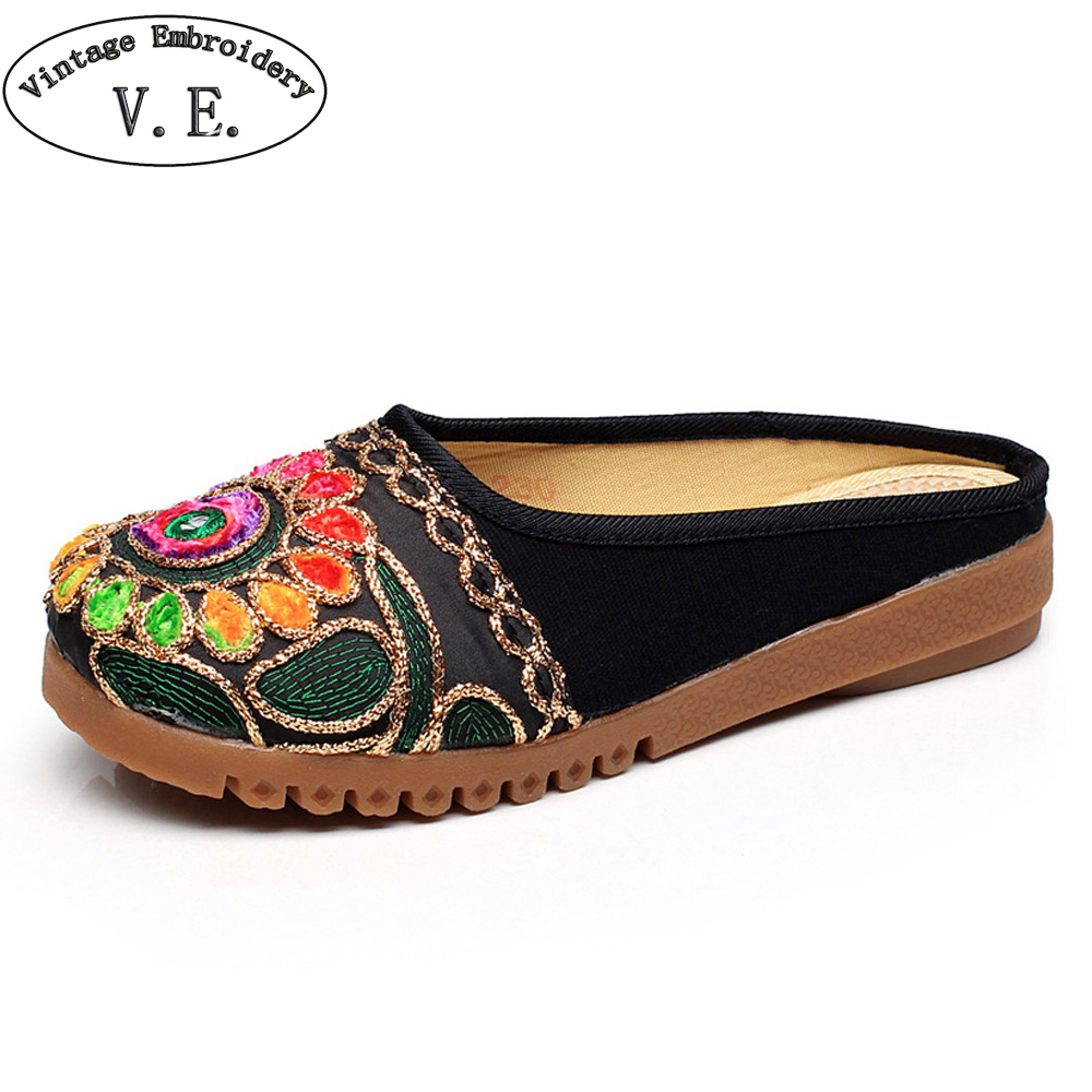 Vintage Summer Women Slippers Thai India Girl Ethnic Embroidered Casual Sandals Handmade Canvas Soft Slippers Zapato Mujer ethnic embroidered black cami dress for women