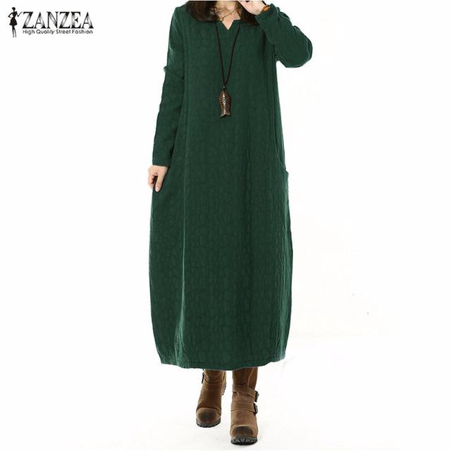 Vestidos 2017 otoño zanzea mujeres vintage cotton linen dress largo maxi dress vestidos de gran tamaño de manga larga casual loose cuello en v