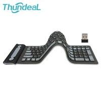 2 4G Wireless Keyboard Folding Russian English 107Keys Silicone Rubber Waterproof Flexible Foldable Keyboard PC Laptop