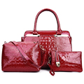 3 pçs/set Mulheres Bolsa de Crocodilo Padrão de Patente Bolsa de Couro Composto Saco de Sacos de Ombro Das Mulheres Preto Vermelho + Messenger Bag + bolsa