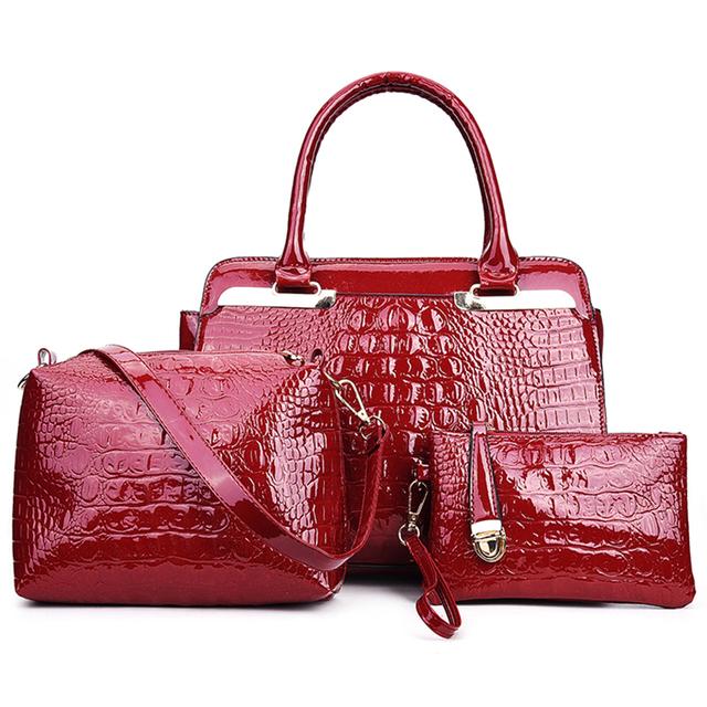 3pcs/set Women Handbag Crocodile Pattern Composite Bag Women Shoulder Bags Black Red Patent Leather Handbag+Messenger Bag+Purse