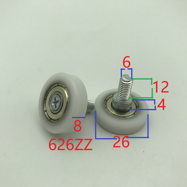 5pcs M6x12mm Vending Machine Sliding Pulley Wheel Elevator Table  Track Pulley Bearing 26mm OD