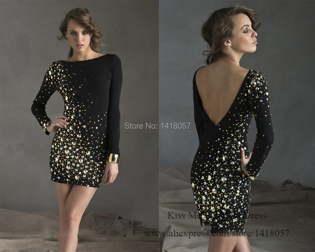 2015 Elegant Women Black Short Christmas Cocktail Party Dress V Back ...
