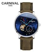 цена на Carnival Ultrathin tourbillon auto mechanical watches men luxury brand full steel waterproof men watch clocks relogio kol saati