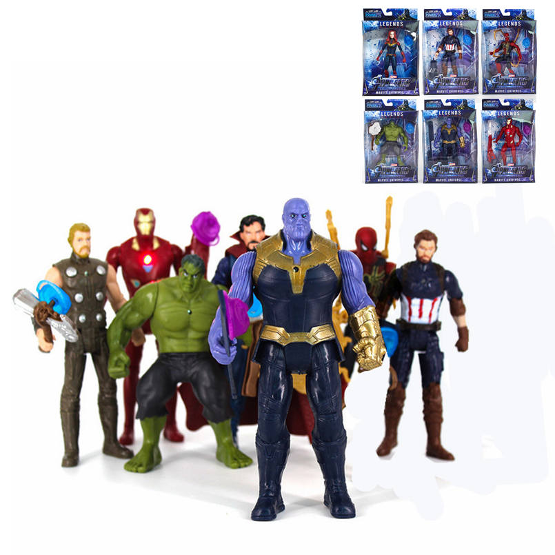 Toy Figures Model-Toys Spiderman Hulk Avengers-Iron Marvel Action Thor Doll Collectible