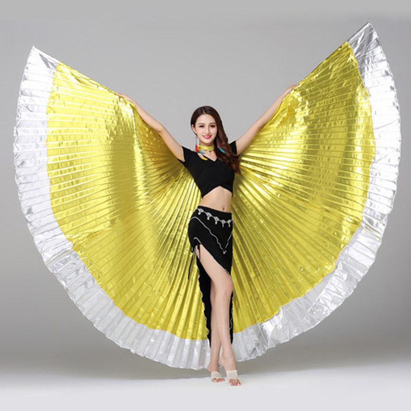10 färger Stage Performance Props Dance Tillbehör Egyptiska Gold Wings Non-Split Belly Dance Isis Wings 270 Degree