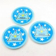 8c96a4eb2 100 unids Blue Prince Crown tema baby shower niños favores papel Placas  Feliz cumpleaños partido decoración Platos Vajilla sumin.