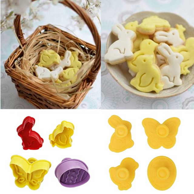 Easter Animal Shape Easter Cookie Mold 4pcs