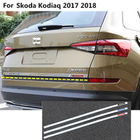 Car Stick body styling stainless steel Rear door tailgate frame plate trim lamp moulding hoods 1pcs For Skoda Kodiaq 2017 2018