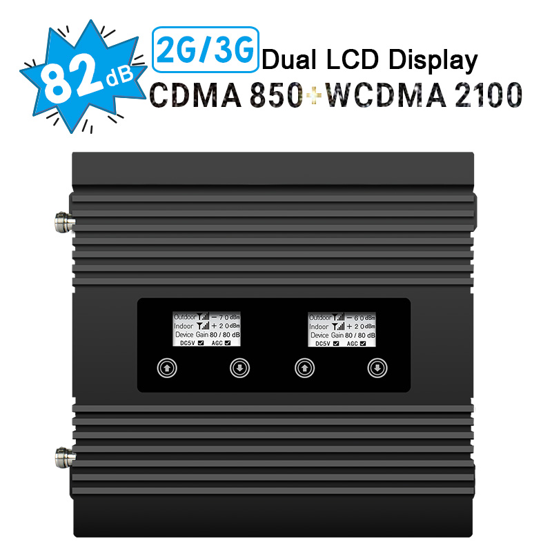 Power 82dB Gain Signal Repeater GSM CAMA 850 WCDMA 2100 Dual Band Cellular Booster Two LCD Display B1 B5 2G 3G UMTS AmplifierPower 82dB Gain Signal Repeater GSM CAMA 850 WCDMA 2100 Dual Band Cellular Booster Two LCD Display B1 B5 2G 3G UMTS Amplifier
