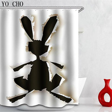 Hot Sale Eco Friendly Polyester 3D Animal Rabbit Cortina Ducha Penguin  Shower Curtains Waterproof Home