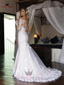 Image 3 - Vestidos de novia de manga larga hechos a medida, sirena, Cuenta de encaje de tul, vestidos de novia formales de lujo, Vestido de novia 2020 WH48