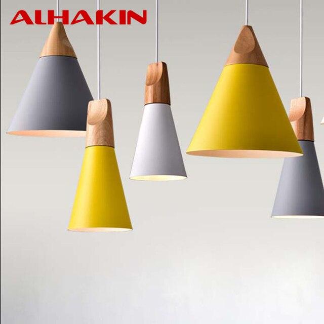 Modern Iron Wood White Yellow Grey Pendant Lamp 110v 220v Lights For Restaurant Coffee Bedroom