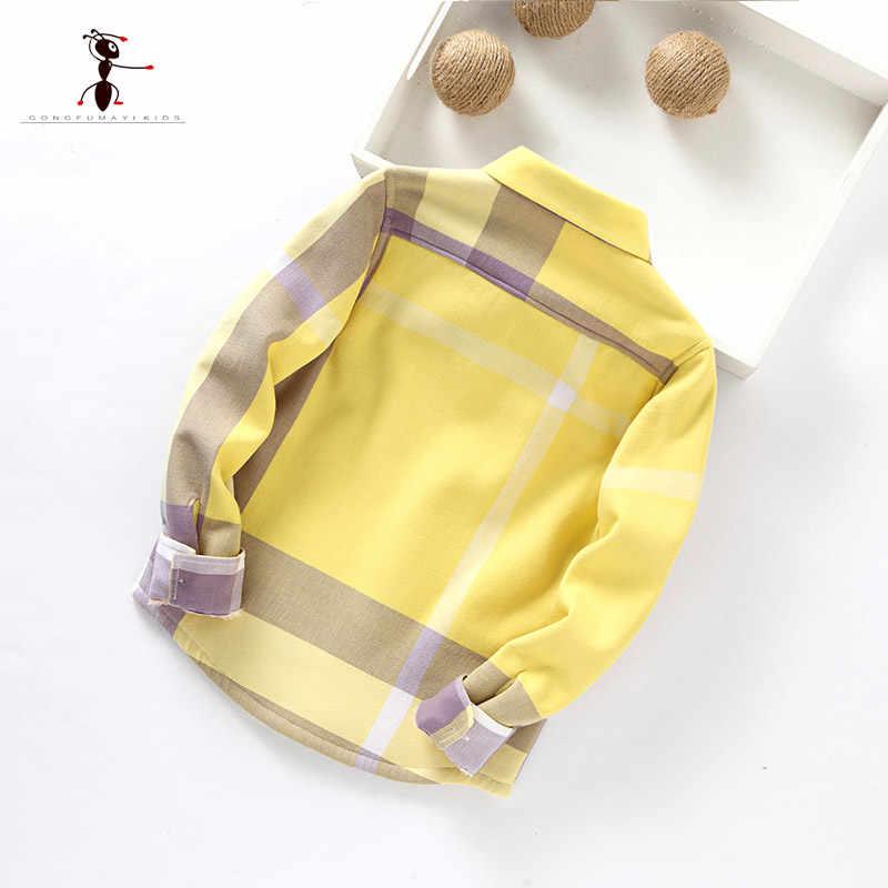 Kung Fu Formiga Originais Da Marca Outono Inverno Malha Quente de Pelúcia Meninos Camisas 3 t-10 t de Algodão de Alta Qualidade camisas das Crianças quentes
