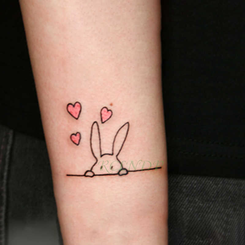Tatuagem temporária à prova dwaterproof água etiqueta coelho hare pequeno falso tatto adesivos flash tatoo mão pé tatuagens para menina