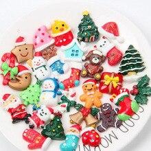 30Pcs Mixed Resin Christmas Series Crafts Flatback Cabochon Scrapbooking Decorations Hair Clips Embellishments Beads Phone Diy