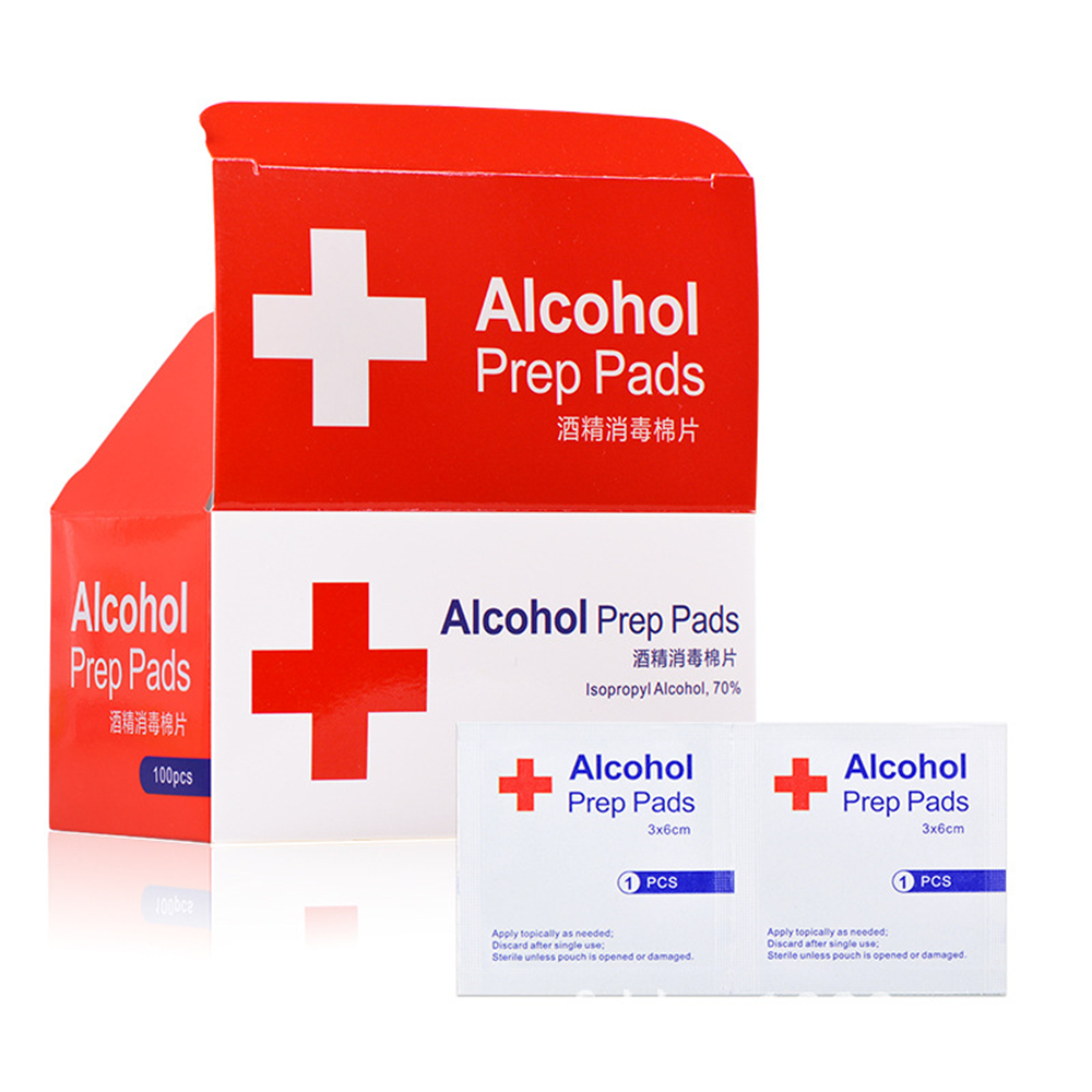 100pcs/box Alcohol Prep Swap Pad Wet Wipe For Antiseptic Skin Cleaning Care Jewelry Mobile Phone Glasses Clean Tool Alcohol Pads