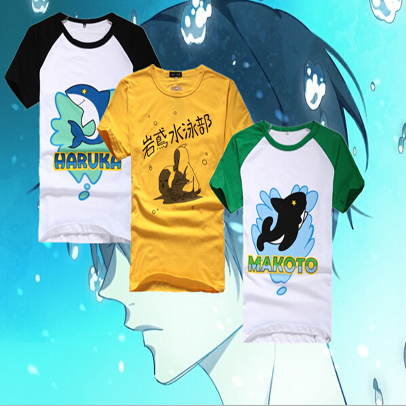 NEW Free! Iwatobi Club Cosplay Costume Unisex Cotton T-shirt T Shirt Tee Unisex plus size Adults Boys Girls Women Men Tops