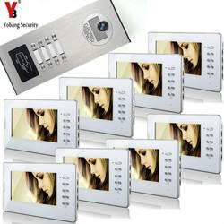 YobangSecurity Главная видеодомофон 7 дюймов HD Visual дверной Звонок RFID 8 Единица квартира Система контроля доступа видео-телефон двери