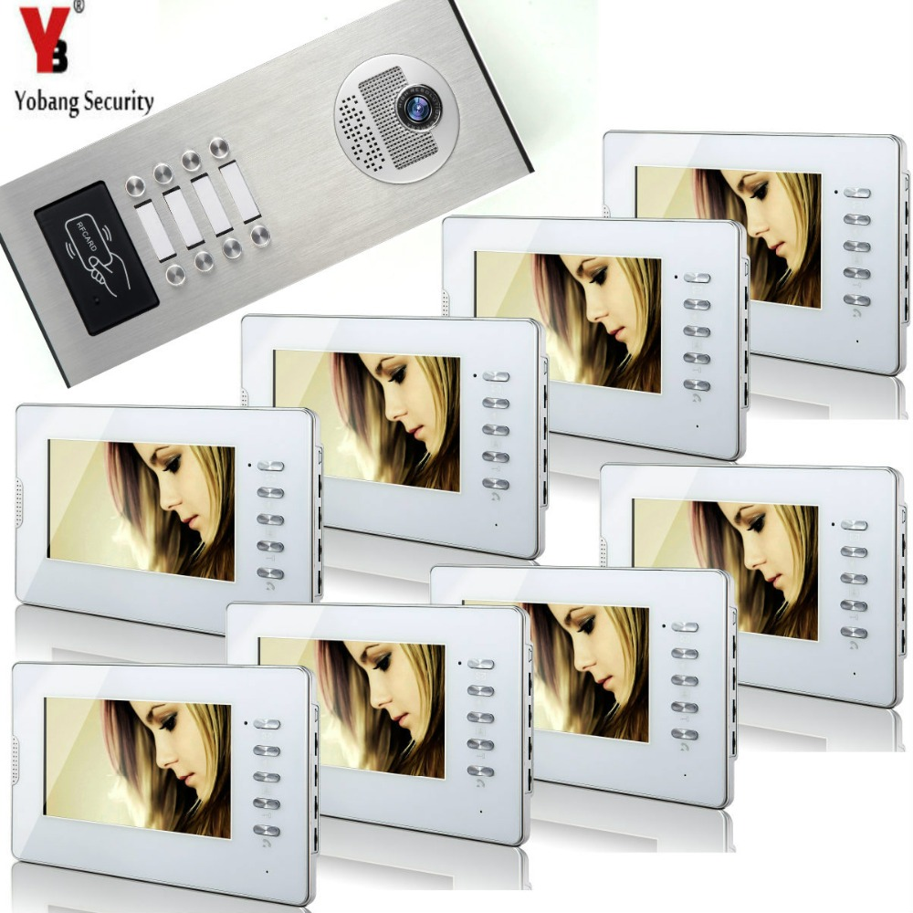 YobangSecurity Home Video Intercom 7 Inch HD Visual Door Doorbell RFID 8 Unit Apartment Access Control System Video Door Phone.