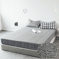 LAGMTA 1pcs 100%Cotton Black & White Fitted Sheet Mattress Cover Four Corners With Elastic Band Bed Sheet