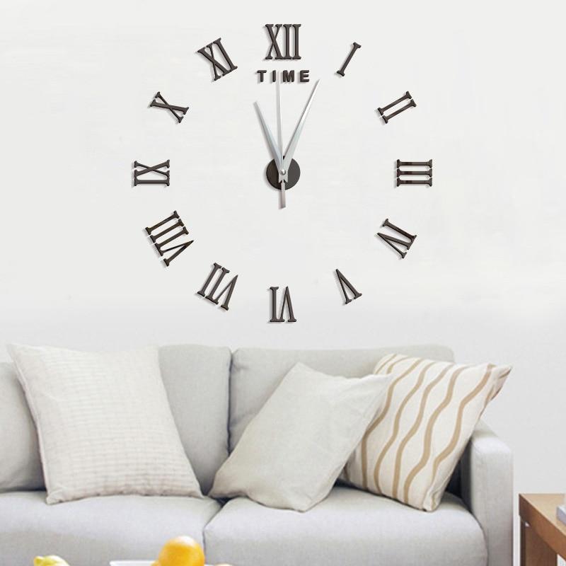 3D Наклейки на стену творческий DIY настенные часы модные Гостиная Часы большие настенные часы домашнего украшения Новинка 2017 года Высокое качество 1 шт.