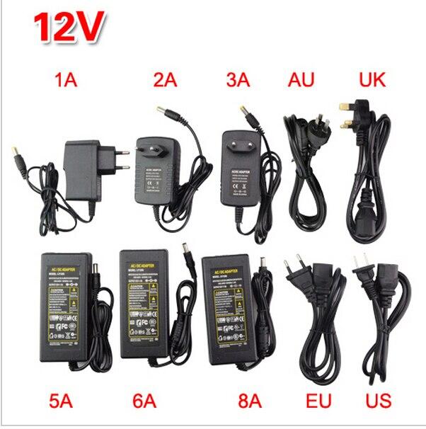 DC LED Power Supply Charger Transformer Adapter 1A-8A 110V 220V to 12V For RGB LED Strip EU US AU UK Cord Plug Socket