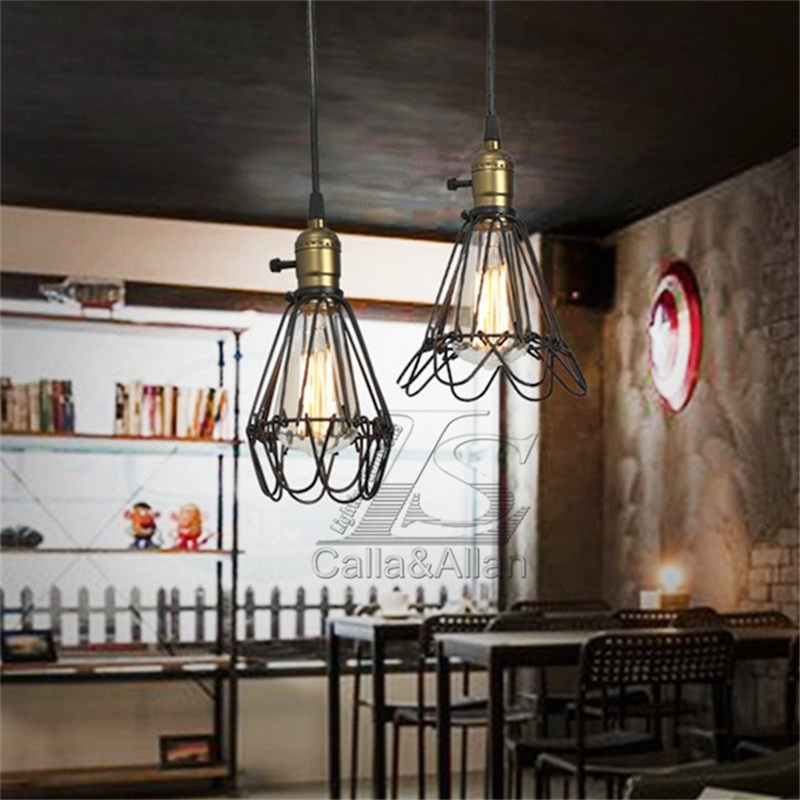 Vintage Pendant Light Chandelier Wire Cage Hanging Lampshade Retro Cafe Bar  Pendant Shape E27 Base Wire