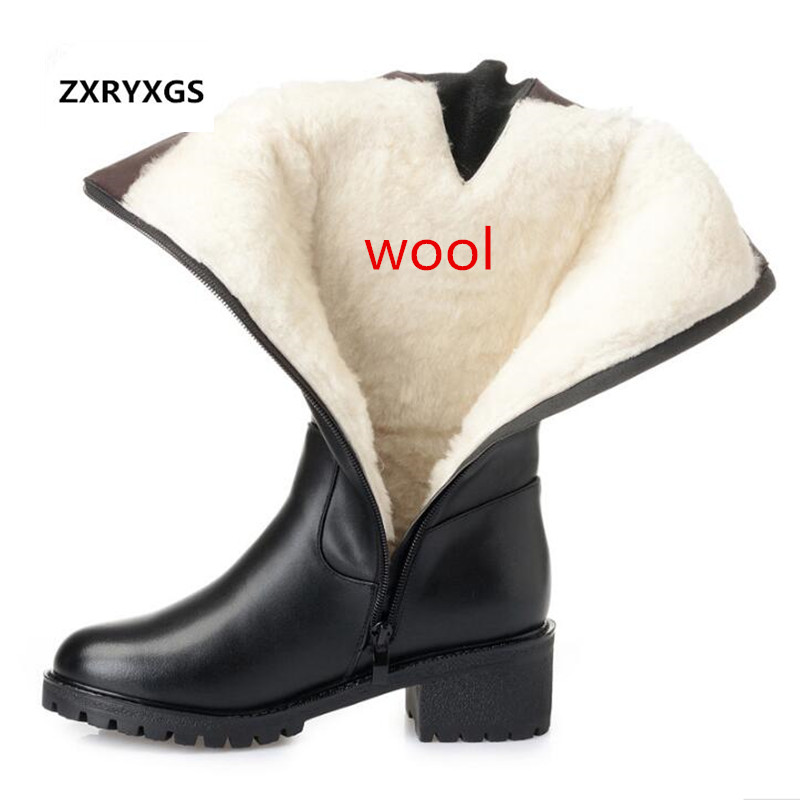 2018 New Winter Elegant Fashion Women Shoes Boots Thick Heel Large Size Genuine Leather Shoes Woman Warm Plush Wool Snow Boots hot sale women boots 2017 new fashion shoes woman genuine leather square heel ankle boots winter warm wool snow rivet boots