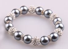 MOODPC 10mm grey glass pearl beads with spacers bracelet white crystal pave ball Jewelry