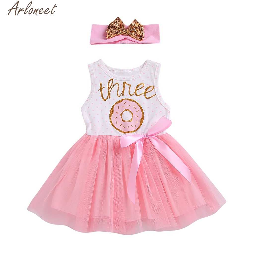 ARLONEET Toddler Infant Baby Girl Clothe Letter Ribbons Bow TUTU Sister dress girl girls dress 1 to 2 years princess costume