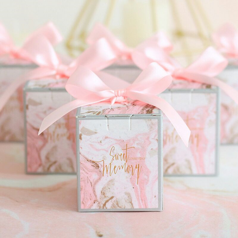 Candy Box With Ribbon Chocolate Box Gift Boxes Wedding Souvenirs   Bag Kids Birthday Supplies Wedding Favors And Gifts