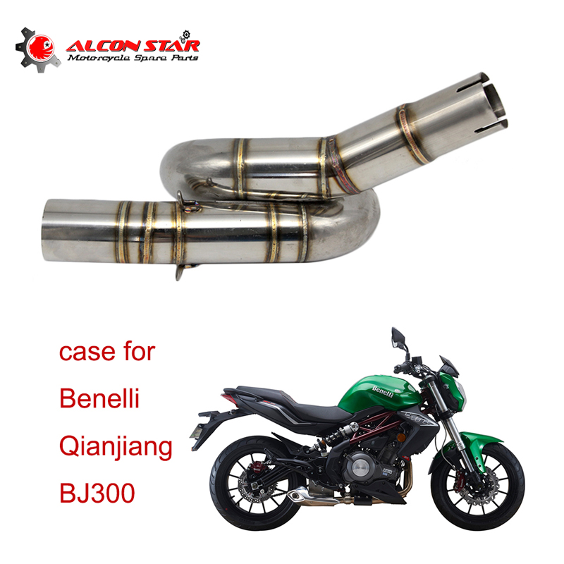Alconstar 51mm Inlet Slip on Exhaust Link Pipe For Benelli 300 BJ300 BJ300GS Middle Stainless Steel