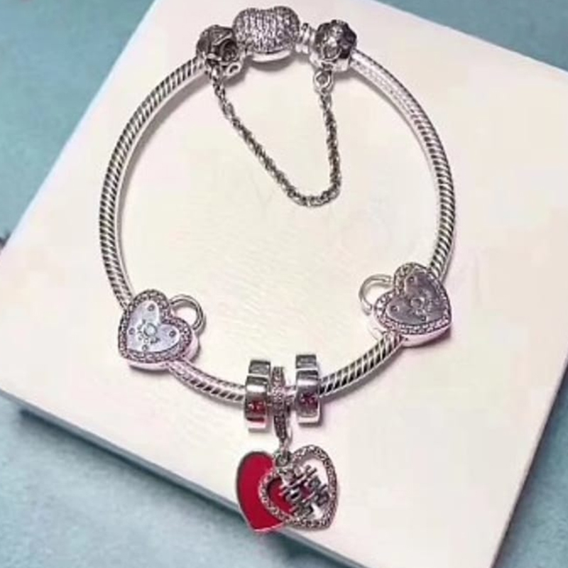 NEW 100% 925 Sterling Silver Love Heart Clip 6 Charm Bead Bracelet Set Planet of Charm Astronaut Night Blue Love CharmNEW 100% 925 Sterling Silver Love Heart Clip 6 Charm Bead Bracelet Set Planet of Charm Astronaut Night Blue Love Charm