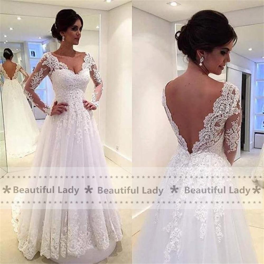 Popular Long Sleeve Backless Wedding Dress-Buy Cheap Long Sleeve ...