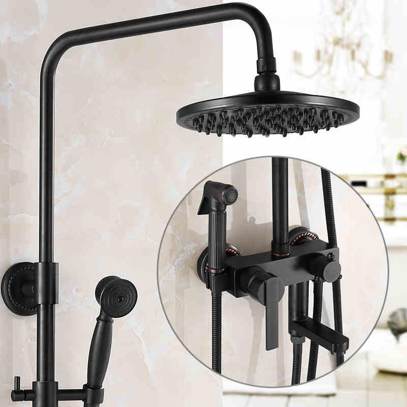 Роскошный Черный Бронзовый Смеситель для душа кран Набор двойной Ручка Высота отрегулировать Для ванной душ полный комплект остроумие