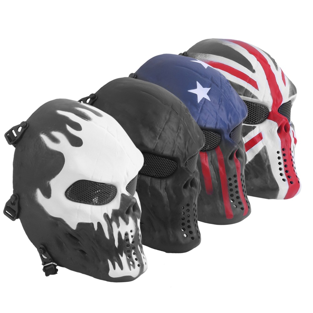 TSAI Outdoor Cycling Mask Airsoft Paintball Tactical Full Face Protection Skull Mask Skeleton Army with Adjustable Straps