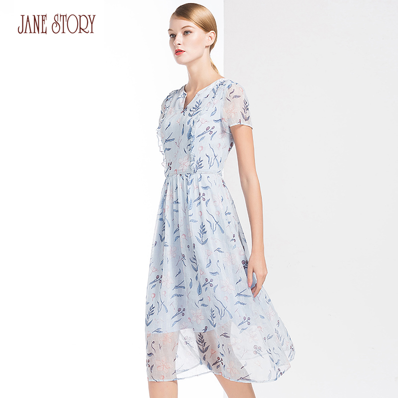 Jane Story 2018 Summer Women Dress V Neck Ruffles Lines Front Short Sleeve Floral Printed Flare Bottom Office Lady Dress Female black active floral printed bottom