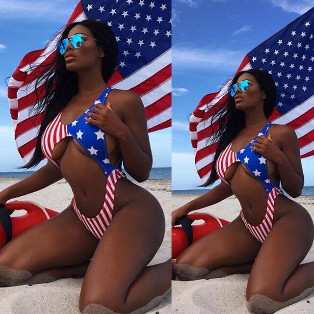0669f554c23 Summer Sexy Women Stars Stripes USA Flag one piece Bikini Padded Bra Bandeau  Swimsuit America Flag Swimwear Backless Beachwear