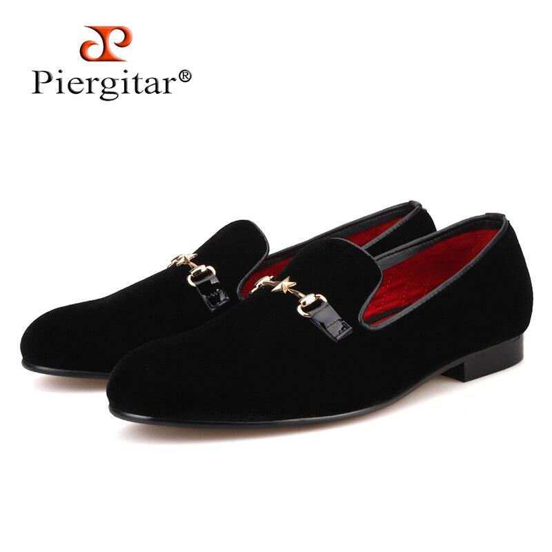 Piergitar Men Shoes Slipper Loafers Smoking Men's Flats Velvet Plus-Size Five-Pointed-Star