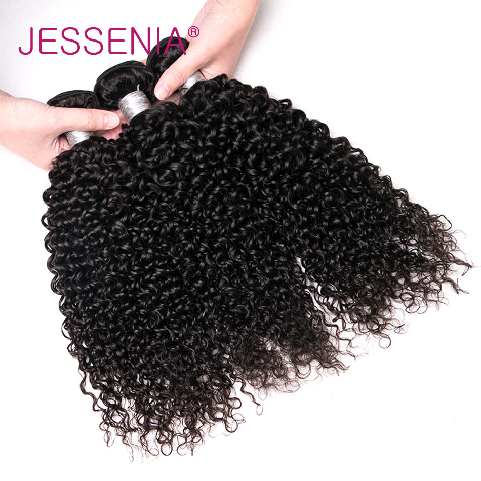 JESSENIA HAIR Brazilian Curly Hair Bundles Non Remy Hair Natural Color Human Hair Weave Bundles 8-26inch 3pcs Free Shipping