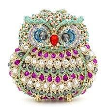Neue ankunft Eule geformte volle diamanten luxus handarbeit kupplung taschen online für parteien womens designer handtaschen schultertasche