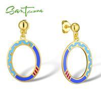 SANTUZZA boucles d'oreilles fantaisie pour femmes boucles d'oreilles ovales bleu à la main émail boucles d'oreilles pour femmes dames fête bijoux de mode