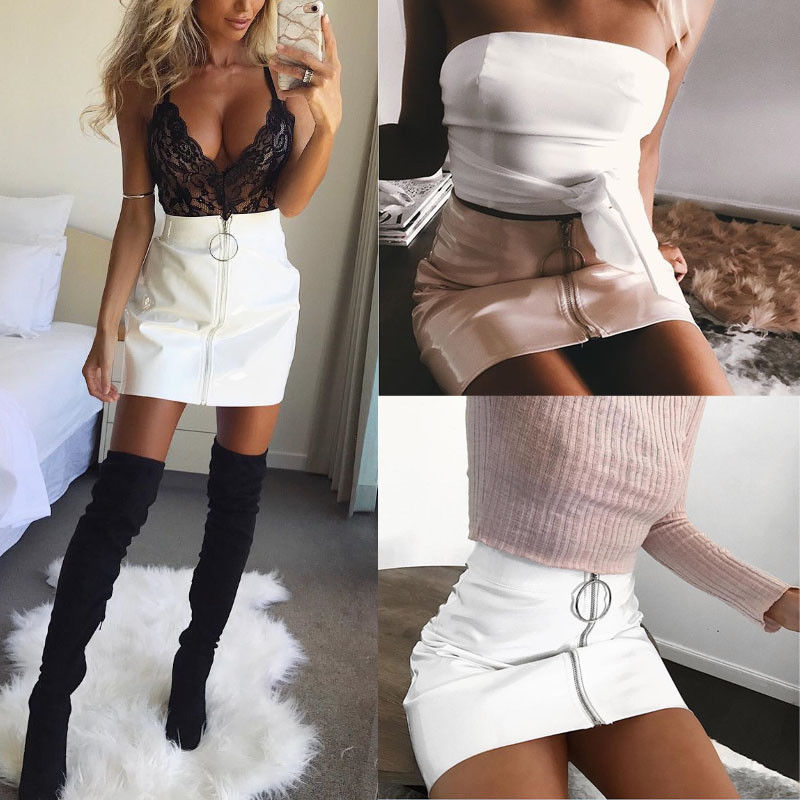 Sexy Women Fashion High Waist Zip Faux Leather Short Pencil Bodycon Mini Skirt 2017 New Solid