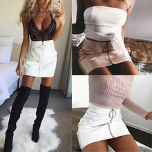 Sexy Women Fashion High Waist Zip Faux Leather Short Pencil Bodycon Mini Skirt 2017 New Solid White Skirt