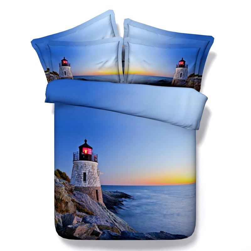 3d Sunset Bedding Sets Blue Sea Duvet Cover Bed Sheets
