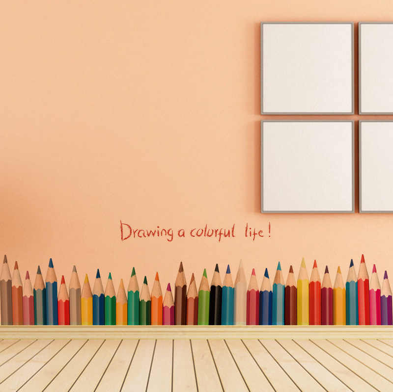 Nursery Back To School Wall Skirting Stickers Mural Art Colorful Pencil Decals