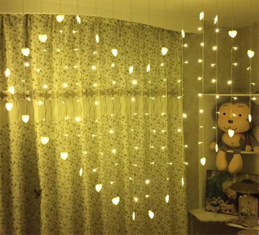 В форме сердца led, декоративный фонарь строка свадебная фея света новогодние гирлянды светодиодные Шторы Открытый Новый год День рождения