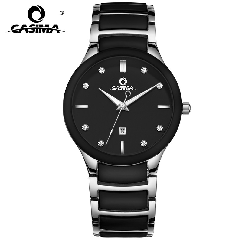 New arrival simple casual men watch black and white ceramic quartz men's watch with calendar waterproof male wristwatches6003G