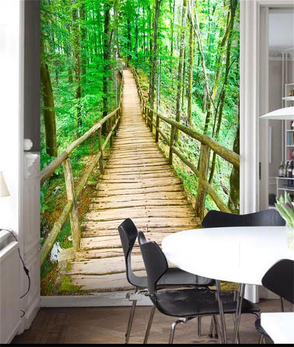 US $14 53 OFF 3d Room Custom Wallpaper Photo Non Woven Mural Picture Nature Forest Woods Bridge Decoration Painting Wallpaper For Walls 3